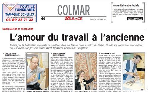 Journal l'Alsace octobre 2001