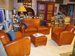 Salon fauteuil club et canapé club art déco