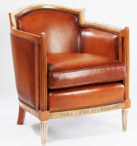 Restauration fauteuil style Napoléon III dessus basane teinte miel
